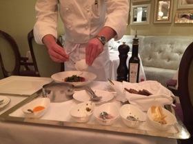Steak tartare prepared at table