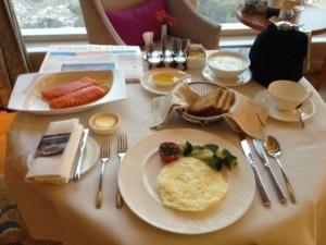 First-class room service breakfast