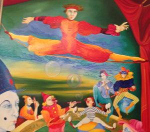 Clowns in a Negresco painting