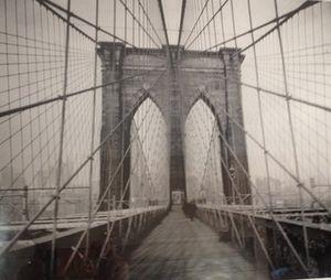 Walls have black-and-white Manhattan scenes