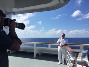 Captain Alexander Golubev poses on the (ship's) bridge deck