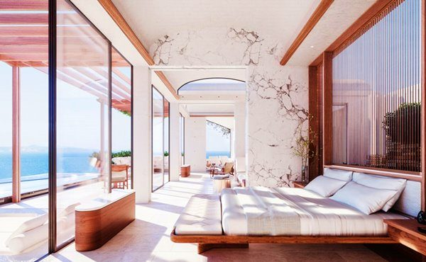 Bedroom at the new One & Only Kéa Island in Greece