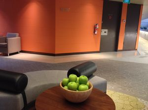 Apples by elevators…