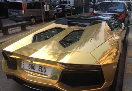 What BLINGOPHILE would have a gold Lamborghini