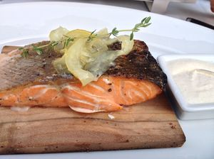 The signature is salmon cooked on cedar