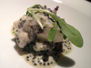 Oyster-topped turbot