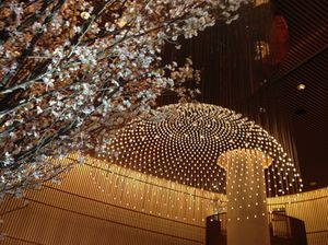 The ultimate fantasy of the lobby, with cherry blossom and minuscule overhead lights
