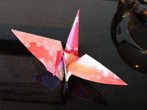 A delicate origami bird