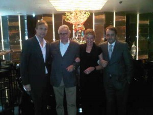 Alain Ducasse, second from left, just happens to pop by, as does Philippe Kjellgren, left