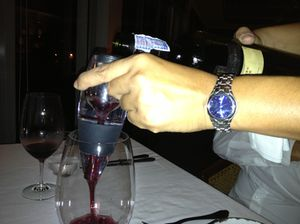 .. and pouring wine over an instant personal dispenser, over the table