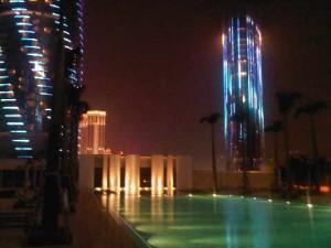pool view of the Grand Hyatt Macau at night