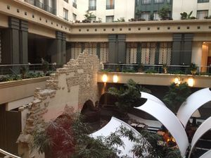 12th century wall in the hotel's atrium
