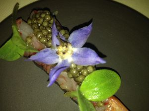 Shrimp, Belgian oscietre and flowers