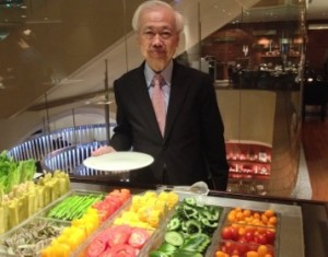 Robin Liu at the salad bar