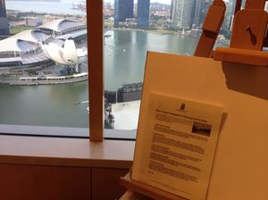There is a professional easel, with paper, for drawing Marina Bay Sands, outside