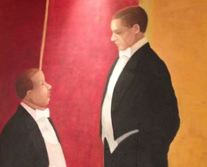 One of the humorous life-size paintings on Bistro 24's walls