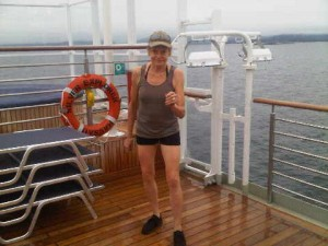 The regular pre-breakfast power-walk on deck six meant we were ultra-fit