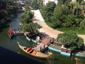 Looking down at gondolas on the canal