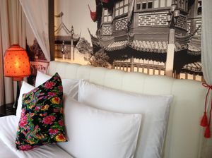 Beds have headboards, blown-up photos of old Shanghai