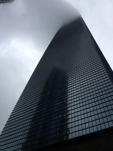 Looking up at the hotel, its head in the clouds