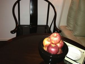 China (chair shape) and goodness (apples)
