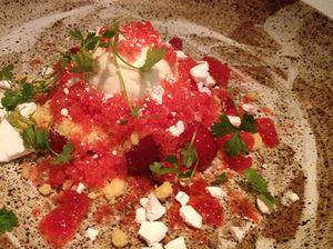Dessert has strawberries, olive oil...