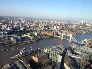 Look down, at HMS Belfast, The Tower of London, and Tower Bridge
