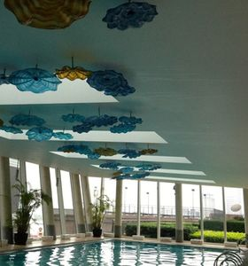 Swimming pool with a ceiling