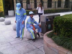 Street cleaners take a break