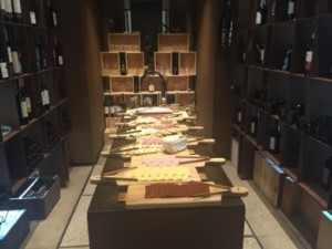 Breakfast cold cuts are in one of several wine rooms