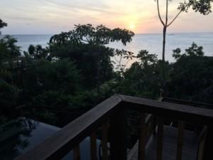 Sunrise over the pool of villa 53