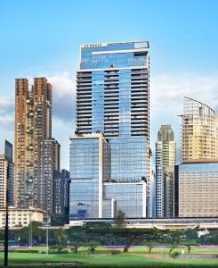 Look east at the imposting St Regis Bangkok...