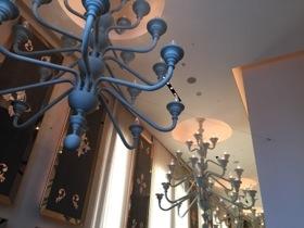 Giant chandeliers overhead