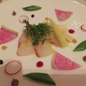 Longtoothed grouper carpaccio, with radish