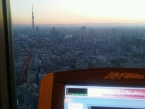 Looking out from Mandarin Oriental Tokyo's 38th floor gym - the 634-metre Sky Tree tower to the left