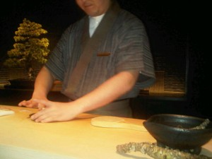 Mr Brilliance, the sushi artist (a bonsai tree behind) at Sora restaurant, Mandarin Oriental Tokyo