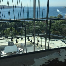 Looking across the Bosphorus, from the duplex's upper level