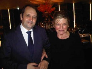 Bulgary London's Sylvain Ercoli and luxury travel journalist Mary Gostelow