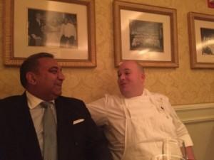 Karambir Kang and chef Andrew Beer at the Kennedy table