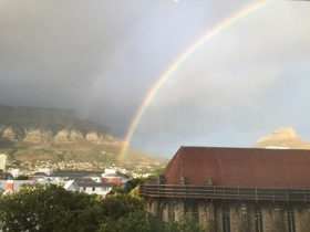 The pot of gold must be at the base of Table Mountain
