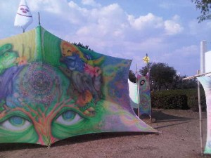 grafittied tent at Ibirapuera Park in Sao Paulo