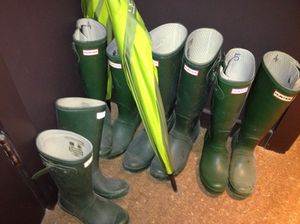 Plenty of Hunter boots, and an umbrella