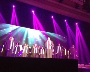 .. and a belting gospel choir