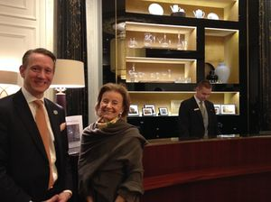 Gerald Krischek and Elisabeth Gürtler in the new Hotel Bristol lobby