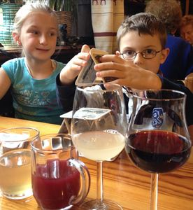 From left, white wine juice, red wine storm, white juice nearly-wine, red wine