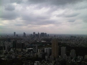 View from corner room 5232, from left, in distance, Yoyogi Park, Shinjuku, Akasaka, State Guesthouse, Sunshine 60 Building