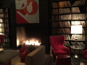View of the Library, with fire, and 8,000 vinyls
