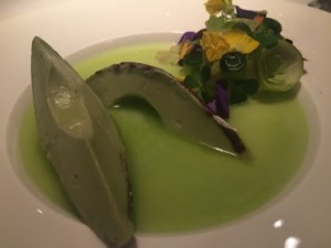 .. avocado sorbet, with chocolate 'skin'