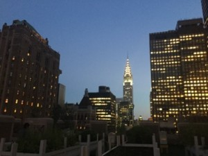 The Chrysler Building spire seen from the 20th floor terrace garden