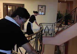 A team of maids working away